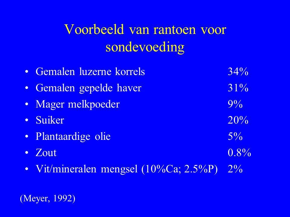 Voorbeeld van rantoen voor sondevoeding Gemalen luzerne korrels34% Gemalen gepelde haver31% Mager melkpoeder9% Suiker20% Plantaardige olie5% Zout0.8%