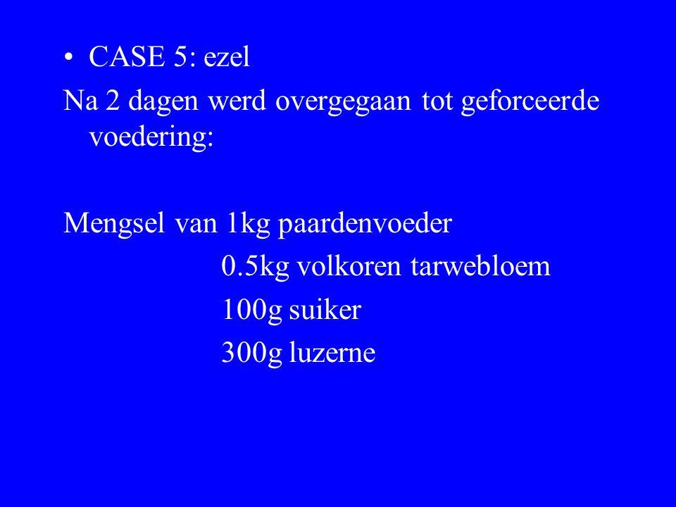 CASE 5: ezel Na 2 dagen werd overgegaan tot geforceerde voedering: Mengsel van 1kg paardenvoeder 0.5kg volkoren tarwebloem 100g suiker 300g luzerne