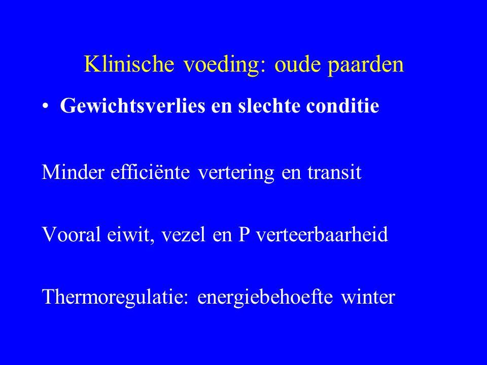 Klinische voeding: oude paarden Gewichtsverlies en slechte conditie Minder efficiënte vertering en transit Vooral eiwit, vezel en P verteerbaarheid Th