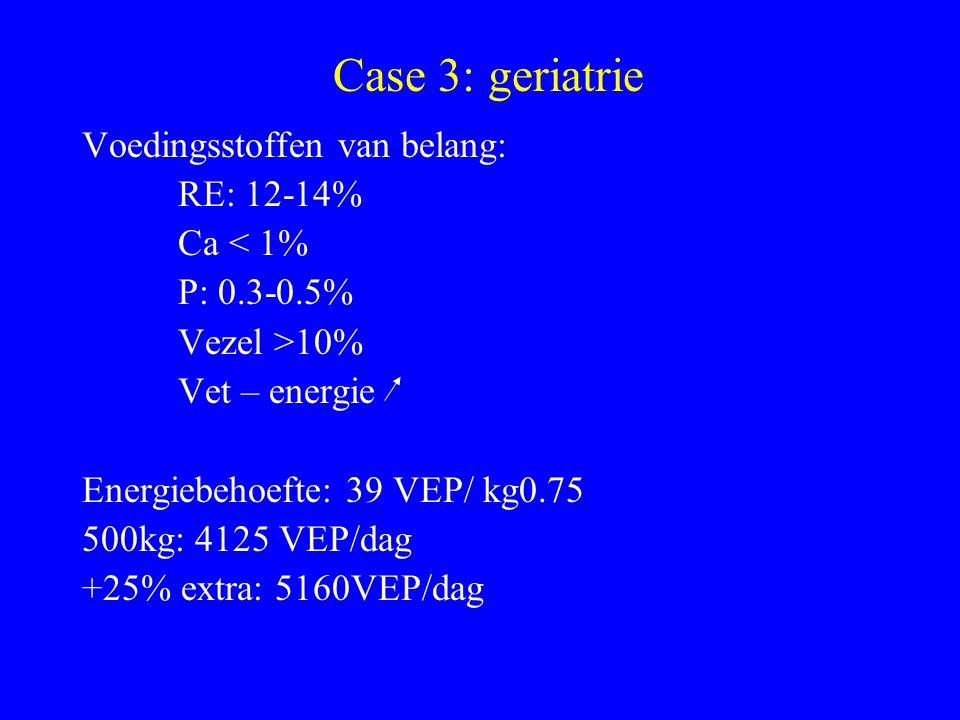 Huidige voederopname(zonder hooi): 4900VEP VREp: 487 Ruwe Celstof: 49g/kg (zonder hooi) RV: 2.2% Ca: 4.8% P: 4.1% Case 3: geriatrie