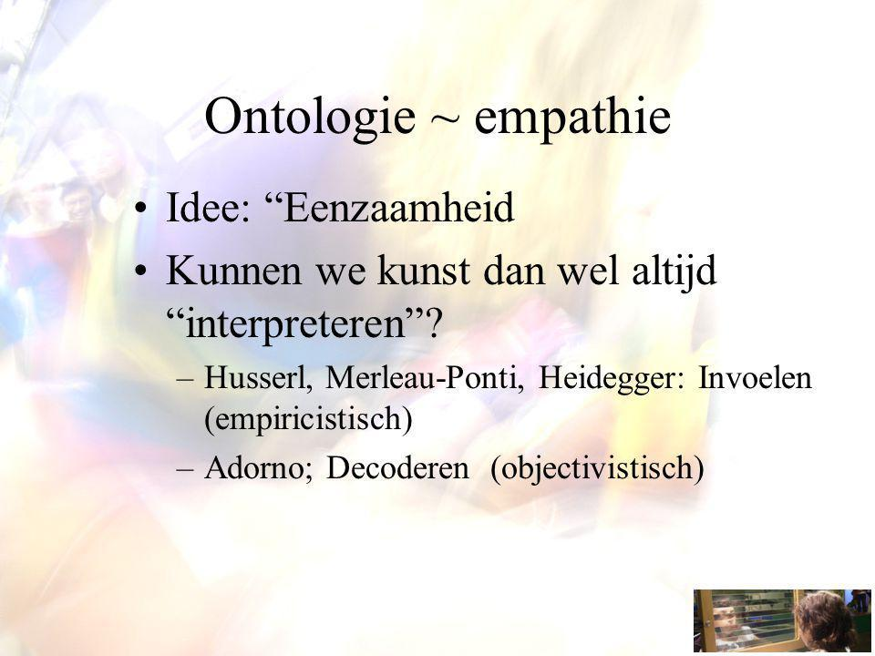 """Ontologie ~ empathie Idee: """"Eenzaamheid Kunnen we kunst dan wel altijd """"interpreteren""""? –Husserl, Merleau-Ponti, Heidegger: Invoelen (empiricistisch)"""