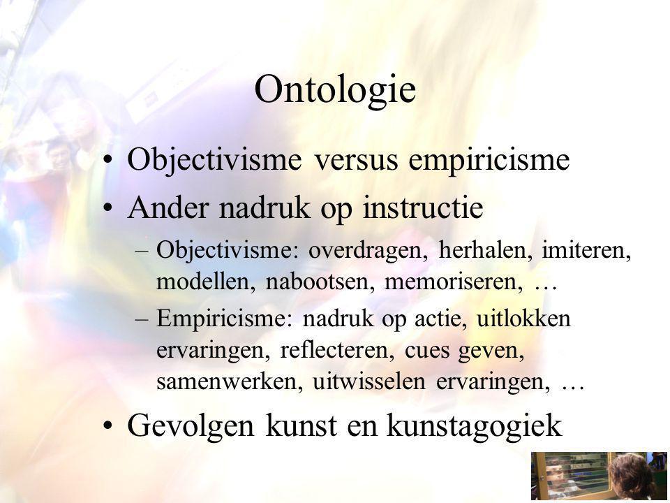 Ontologie Objectivisme versus empiricisme Ander nadruk op instructie –Objectivisme: overdragen, herhalen, imiteren, modellen, nabootsen, memoriseren, … –Empiricisme: nadruk op actie, uitlokken ervaringen, reflecteren, cues geven, samenwerken, uitwisselen ervaringen, … Gevolgen kunst en kunstagogiek