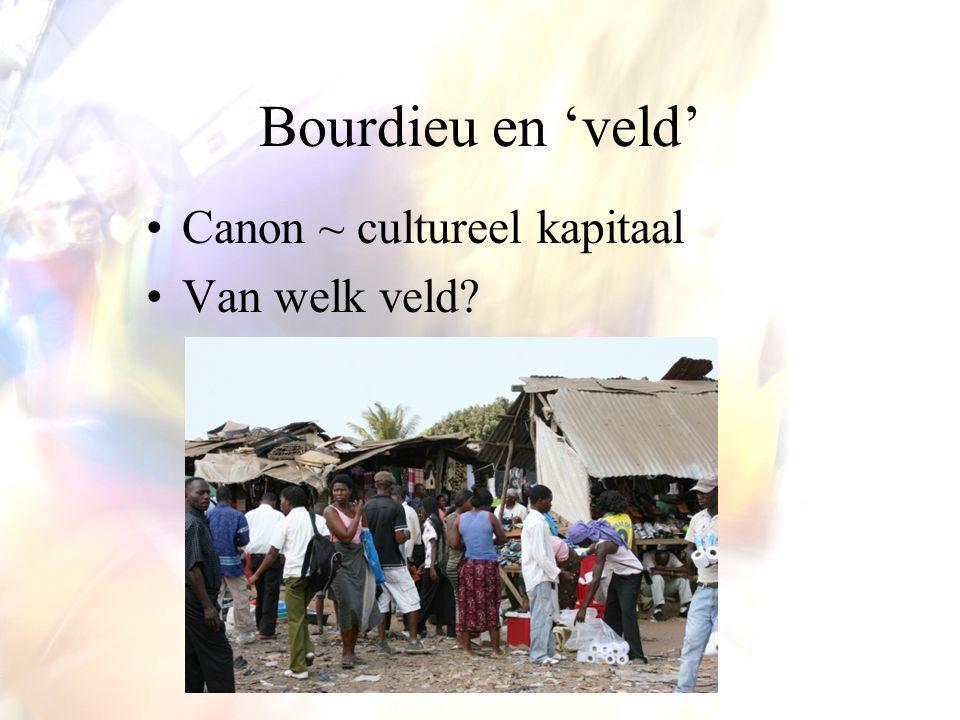 Bourdieu en 'veld' Canon ~ cultureel kapitaal Van welk veld?