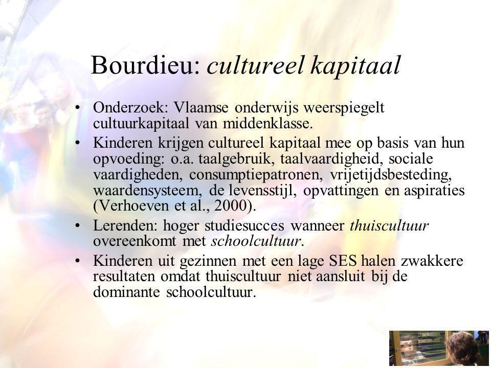 Bourdieu: cultureel kapitaal Onderzoek: Vlaamse onderwijs weerspiegelt cultuurkapitaal van middenklasse. Kinderen krijgen cultureel kapitaal mee op ba