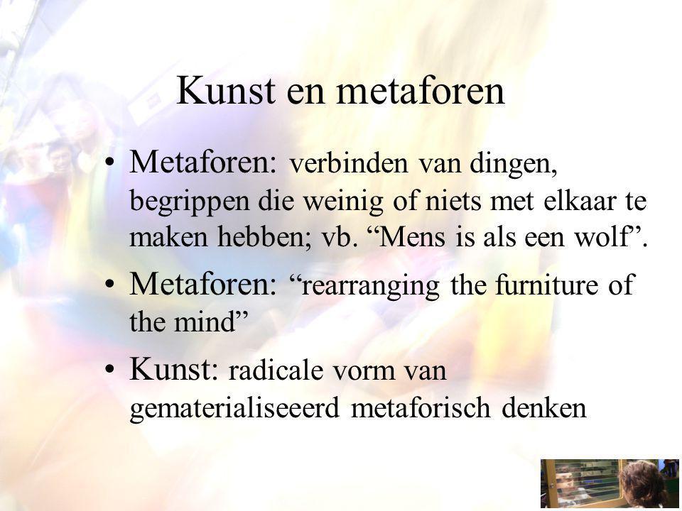 Kunst en metaforen Metaforen: verbinden van dingen, begrippen die weinig of niets met elkaar te maken hebben; vb.