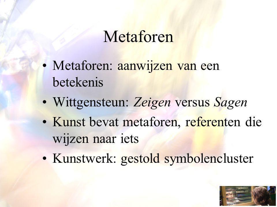 Metaforen Metaforen: aanwijzen van een betekenis Wittgensteun: Zeigen versus Sagen Kunst bevat metaforen, referenten die wijzen naar iets Kunstwerk: gestold symbolencluster