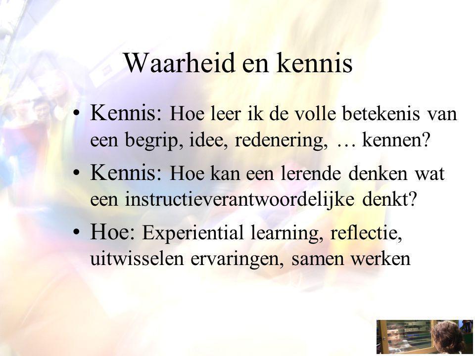 Kennis: Hoe leer ik de volle betekenis van een begrip, idee, redenering, … kennen? Kennis: Hoe kan een lerende denken wat een instructieverantwoordeli