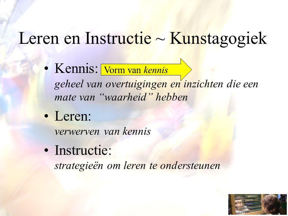 Leren en Instructie ~ Kunstagogiek Kennis: geheel van overtuigingen en inzichten die een mate van waarheid hebben Leren: verwerven van kennis Instructie: strategieën om leren te ondersteunen Vorm van kennis