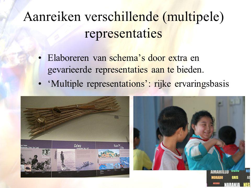 Aanreiken verschillende (multipele) representaties Elaboreren van schema's door extra en gevarieerde representaties aan te bieden.