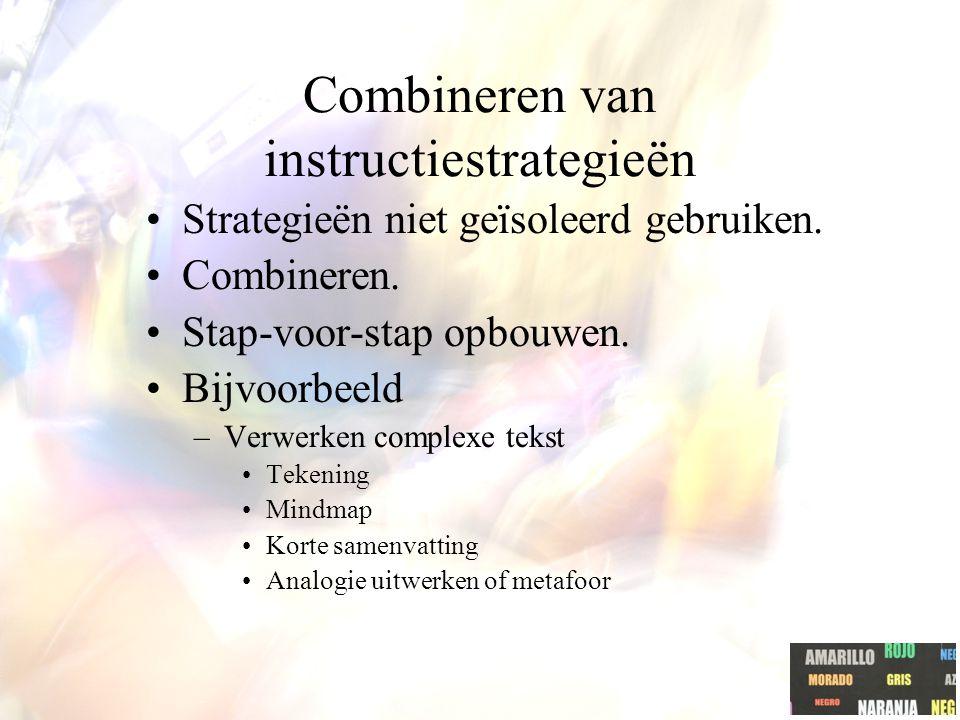 Combineren van instructiestrategieën Strategieën niet geïsoleerd gebruiken.
