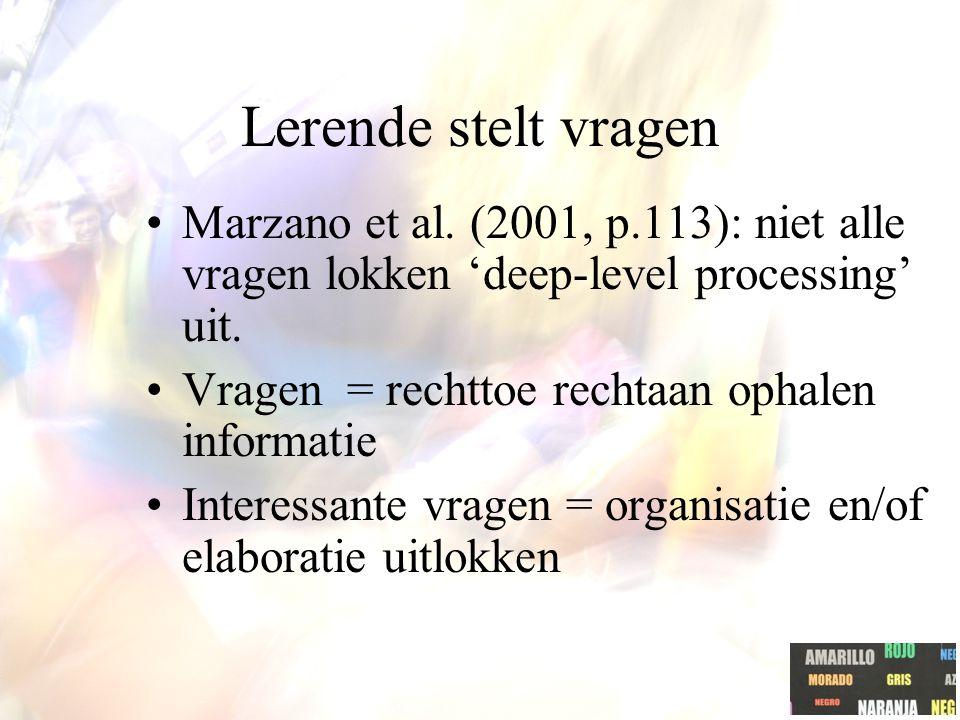 Lerende stelt vragen Marzano et al.