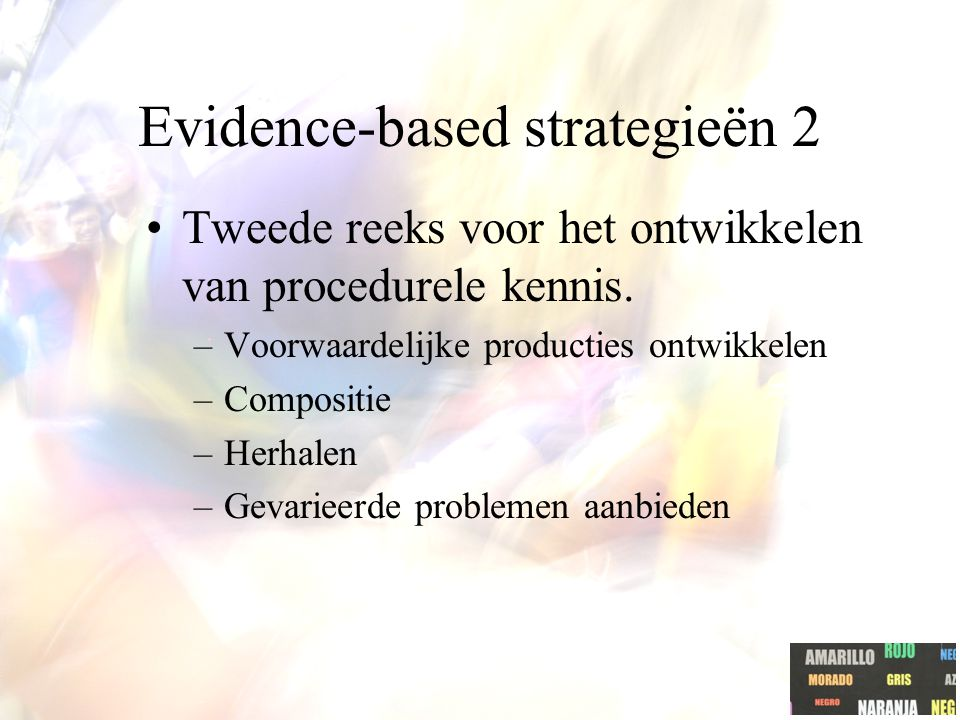 Evidence-based strategieën 2 Tweede reeks voor het ontwikkelen van procedurele kennis.