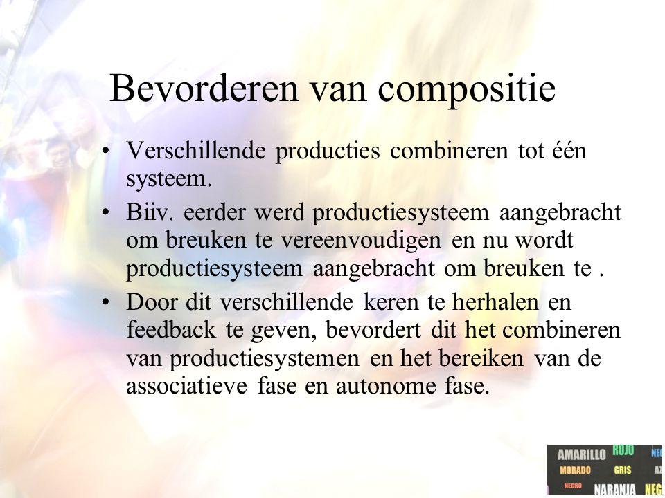 Bevorderen van compositie Verschillende producties combineren tot één systeem.