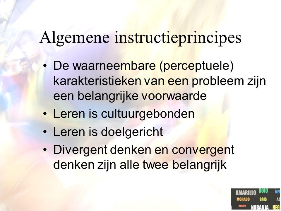 Algemene instructieprincipes De waarneembare (perceptuele) karakteristieken van een probleem zijn een belangrijke voorwaarde Leren is cultuurgebonden Leren is doelgericht Divergent denken en convergent denken zijn alle twee belangrijk