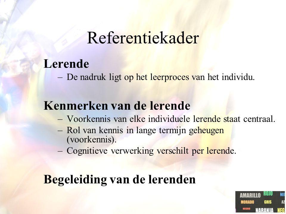 Referentiekader Lerende –De nadruk ligt op het leerproces van het individu.