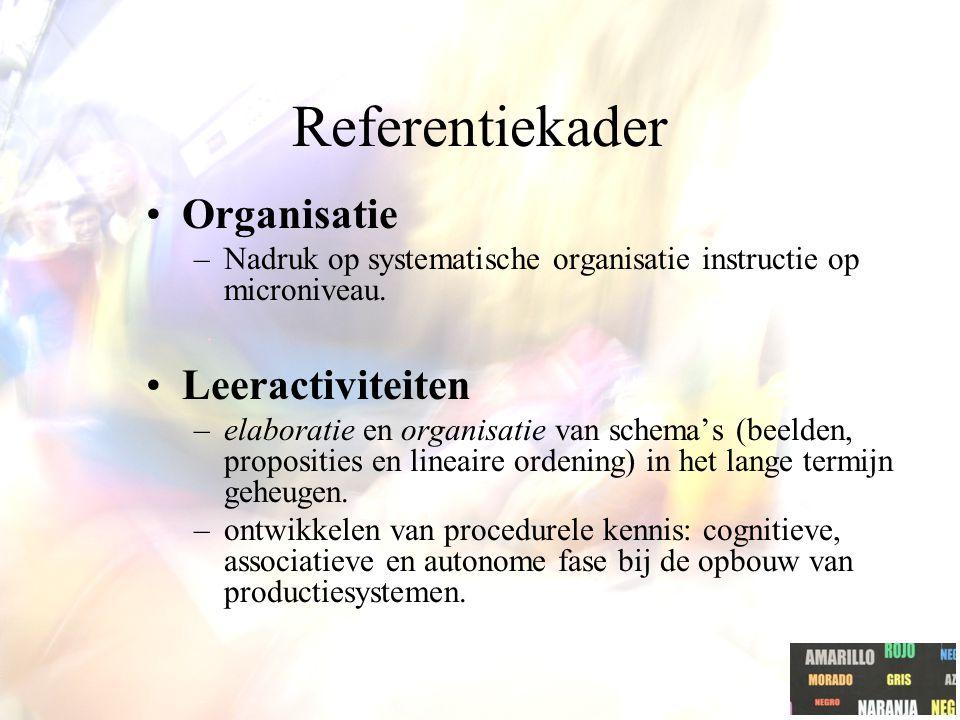 Referentiekader Organisatie –Nadruk op systematische organisatie instructie op microniveau.