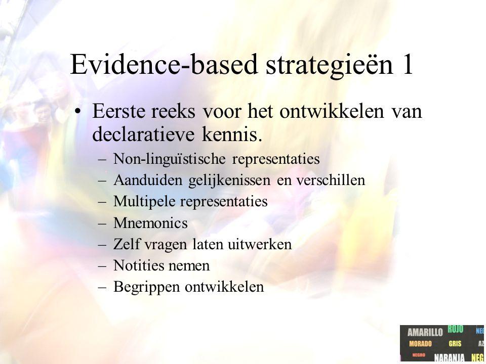 Evidence-based strategieën 1 Eerste reeks voor het ontwikkelen van declaratieve kennis.