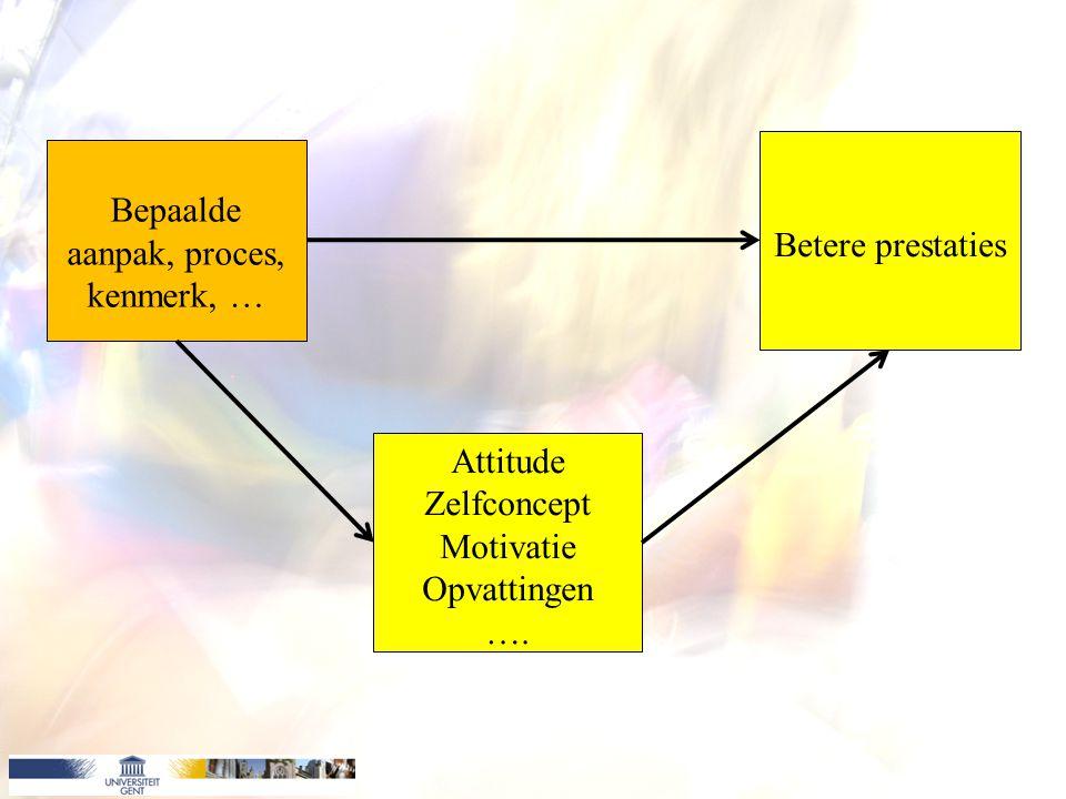 Bepaalde aanpak, proces, kenmerk, … Attitude Zelfconcept Motivatie Opvattingen …. Betere prestaties