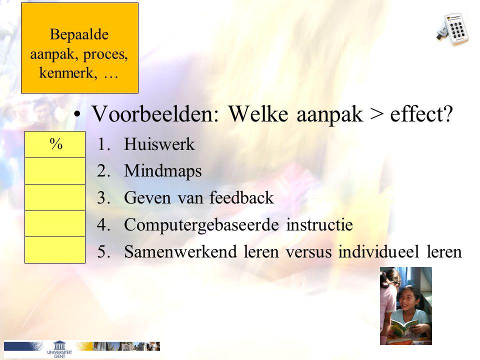 Bepaalde aanpak, proces, kenmerk, … Voorbeelden: Welke aanpak > effect? 1.Huiswerk 2.Mindmaps 3.Geven van feedback 4.Computergebaseerde instructie 5.S