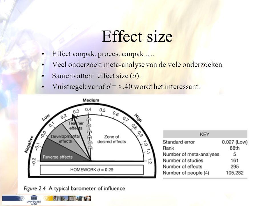 Effect size Effect aanpak, proces, aanpak …. Veel onderzoek: meta-analyse van de vele onderzoeken Samenvatten: effect size (d). Vuistregel: vanaf d =