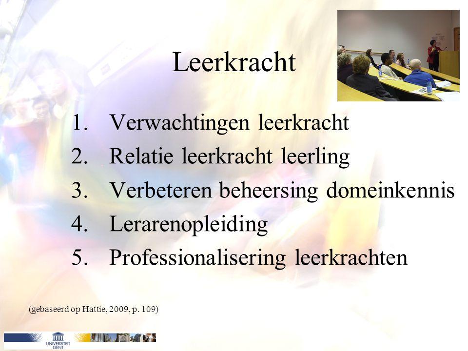 Leerkracht 1.Verwachtingen leerkracht 2.Relatie leerkracht leerling 3.Verbeteren beheersing domeinkennis 4.Lerarenopleiding 5.Professionalisering leer