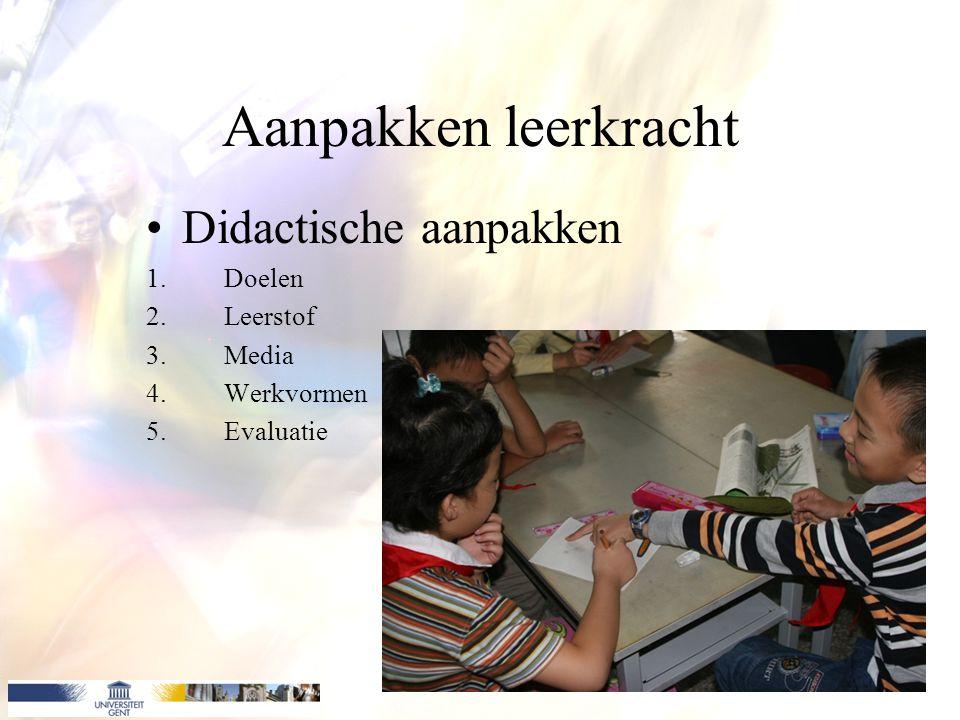 Aanpakken leerkracht Didactische aanpakken 1.Doelen 2.Leerstof 3.Media 4.Werkvormen 5.Evaluatie
