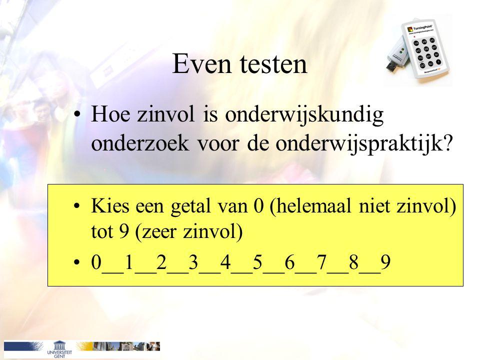 Even testen Hoe zinvol is onderwijskundig onderzoek voor de onderwijspraktijk? Kies een getal van 0 (helemaal niet zinvol) tot 9 (zeer zinvol) 0__1__2