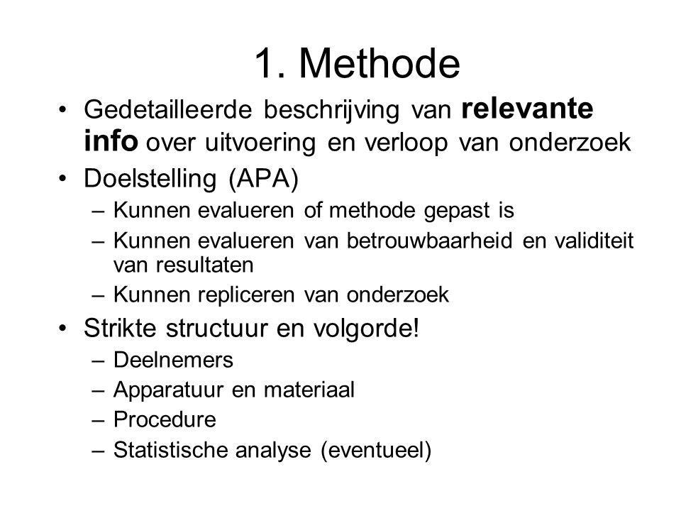 1. Methode Gedetailleerde beschrijving van relevante info over uitvoering en verloop van onderzoek Doelstelling (APA) –Kunnen evalueren of methode gep