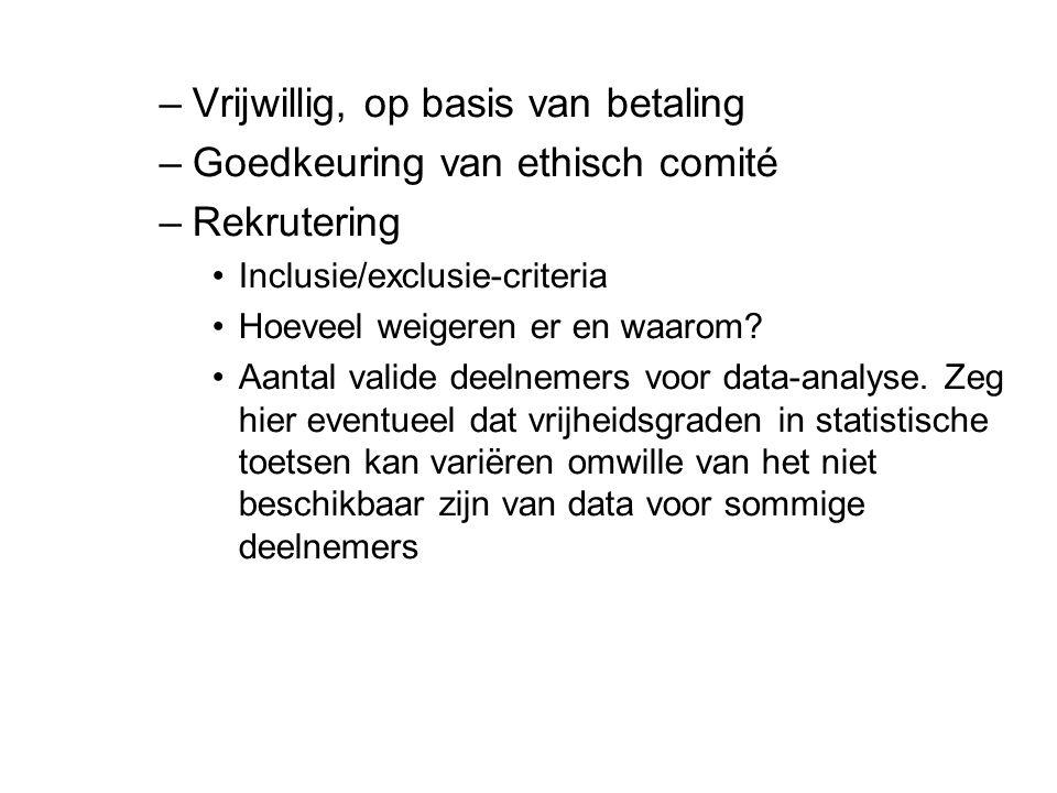 –Vrijwillig, op basis van betaling –Goedkeuring van ethisch comité –Rekrutering Inclusie/exclusie-criteria Hoeveel weigeren er en waarom.