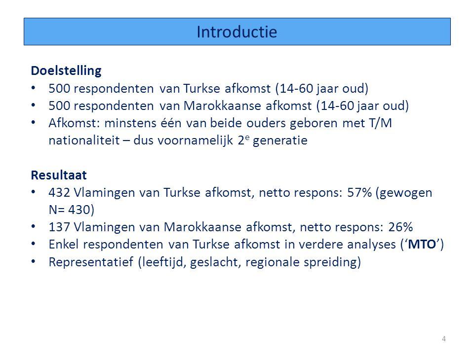 Doelstelling 500 respondenten van Turkse afkomst (14-60 jaar oud) 500 respondenten van Marokkaanse afkomst (14-60 jaar oud) Afkomst: minstens één van beide ouders geboren met T/M nationaliteit – dus voornamelijk 2 e generatie Resultaat 432 Vlamingen van Turkse afkomst, netto respons: 57% (gewogen N= 430) 137 Vlamingen van Marokkaanse afkomst, netto respons: 26% Enkel respondenten van Turkse afkomst in verdere analyses ('MTO') Representatief (leeftijd, geslacht, regionale spreiding) 4 Introductie