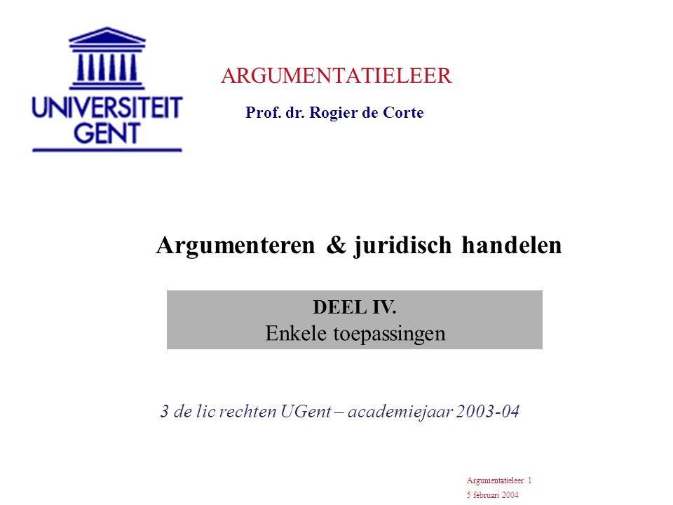 ARGUMENTATIELEER Prof. dr.