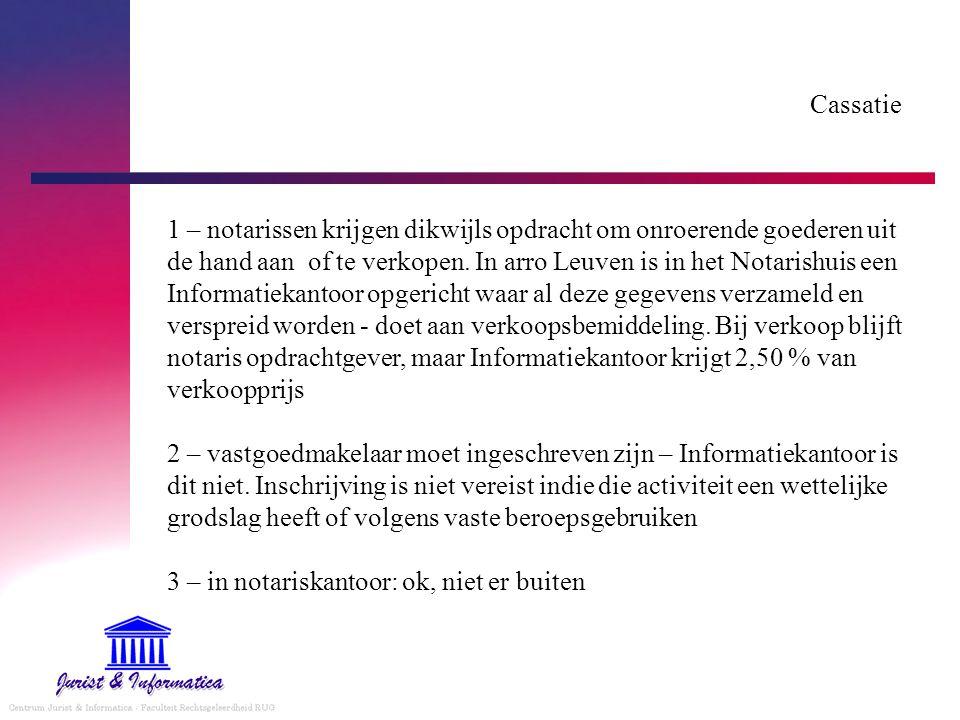Cassatie 1 – notarissen krijgen dikwijls opdracht om onroerende goederen uit de hand aan of te verkopen.