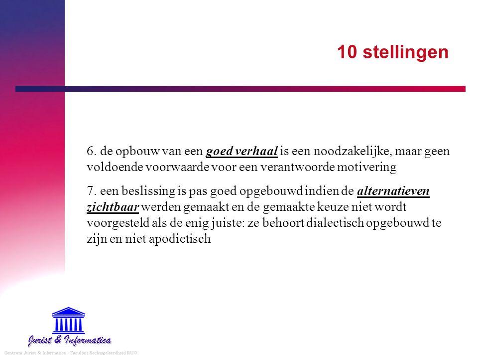 10 stellingen 8.bij elke beslissing moet aangegeven worden waarom voor de ene en niet voor de andere oplossing werd gekozen - dissenting en concurring opinion dragen hiertoe bij 9.