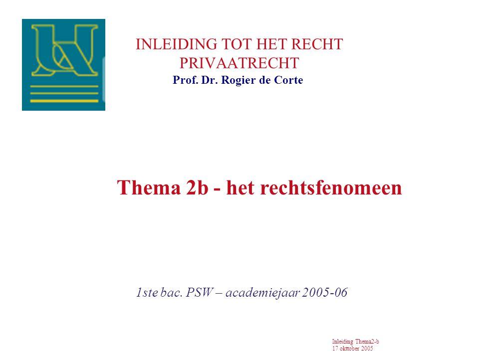 INLEIDING TOT HET RECHT PRIVAATRECHT 1ste bac.PSW – academiejaar 2005-06 Prof.