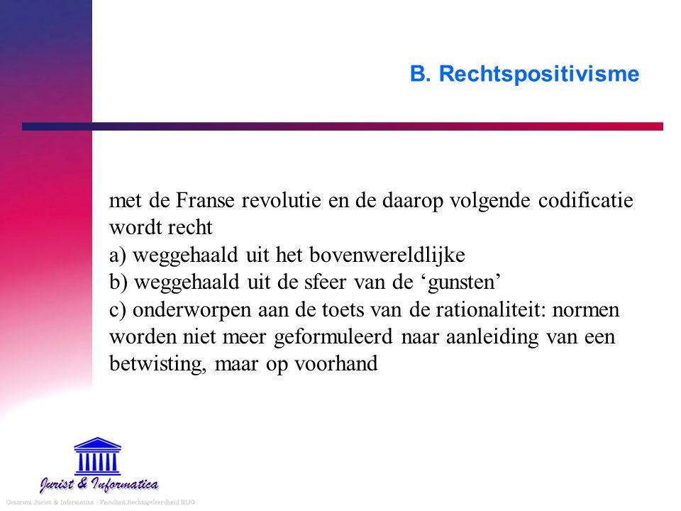 B. Rechtspositivisme met de Franse revolutie en de daarop volgende codificatie wordt recht a) weggehaald uit het bovenwereldlijke b) weggehaald uit de