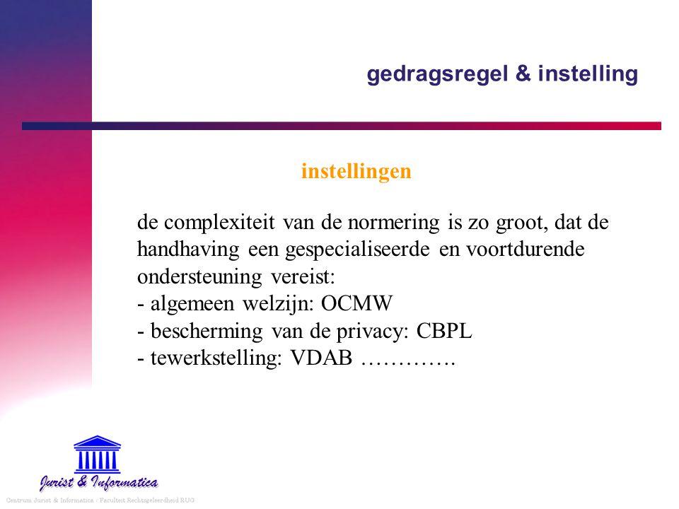 gedragsregel & instelling instellingen de complexiteit van de normering is zo groot, dat de handhaving een gespecialiseerde en voortdurende ondersteuning vereist: - algemeen welzijn: OCMW - bescherming van de privacy: CBPL - tewerkstelling: VDAB ………….