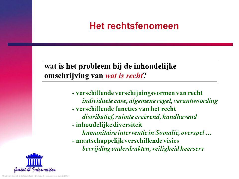 omschrijving recht is - het geheel van regels & instellingen - door de overheid - bindend opgelegd aan de burgers - ter ordening van de maatschappij - in rechtvaardigheid