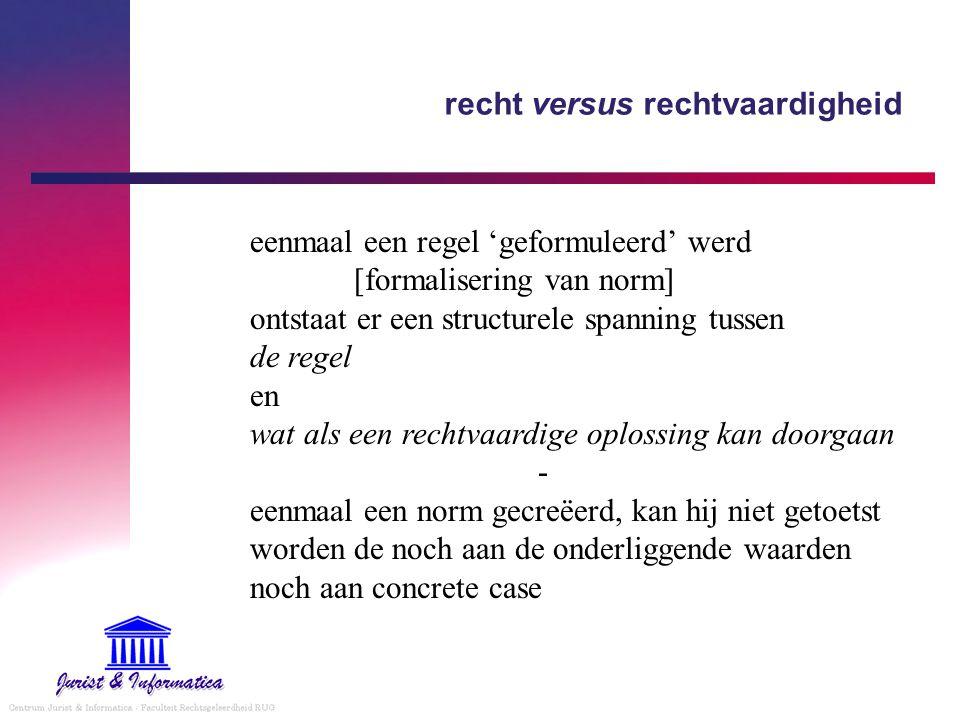 recht versus rechtvaardigheid eenmaal een regel 'geformuleerd' werd [formalisering van norm] ontstaat er een structurele spanning tussen de regel en wat als een rechtvaardige oplossing kan doorgaan - eenmaal een norm gecreëerd, kan hij niet getoetst worden de noch aan de onderliggende waarden noch aan concrete case