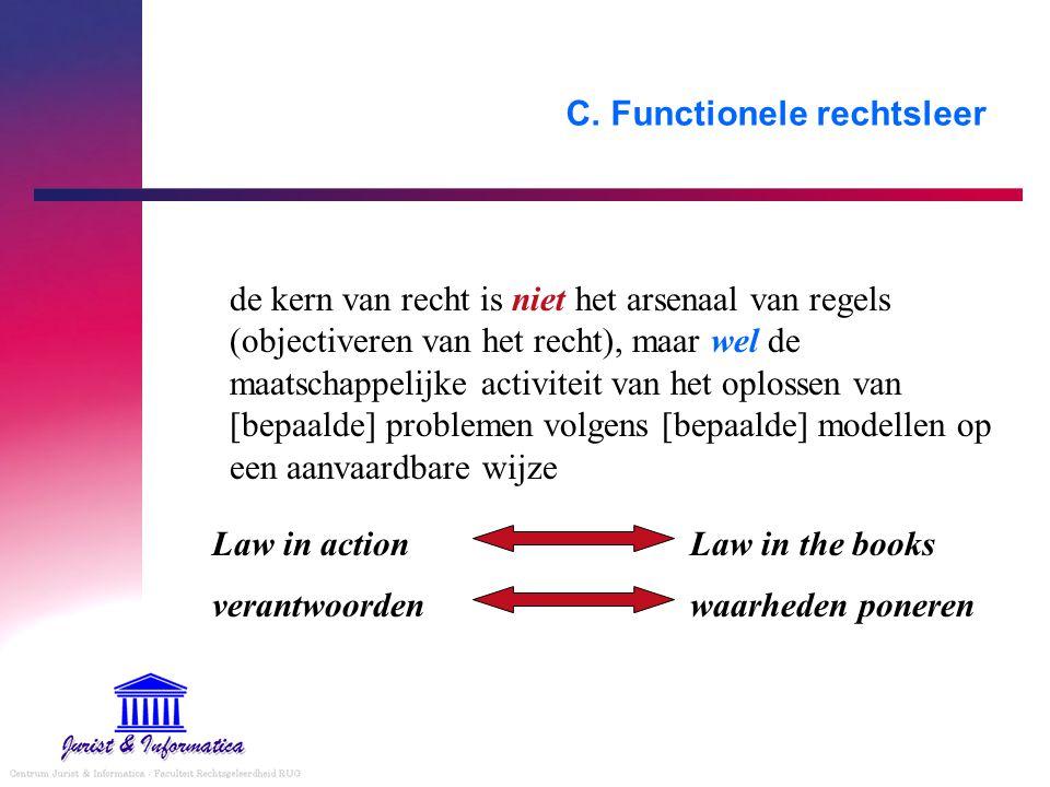 C. Functionele rechtsleer de kern van recht is niet het arsenaal van regels (objectiveren van het recht), maar wel de maatschappelijke activiteit van