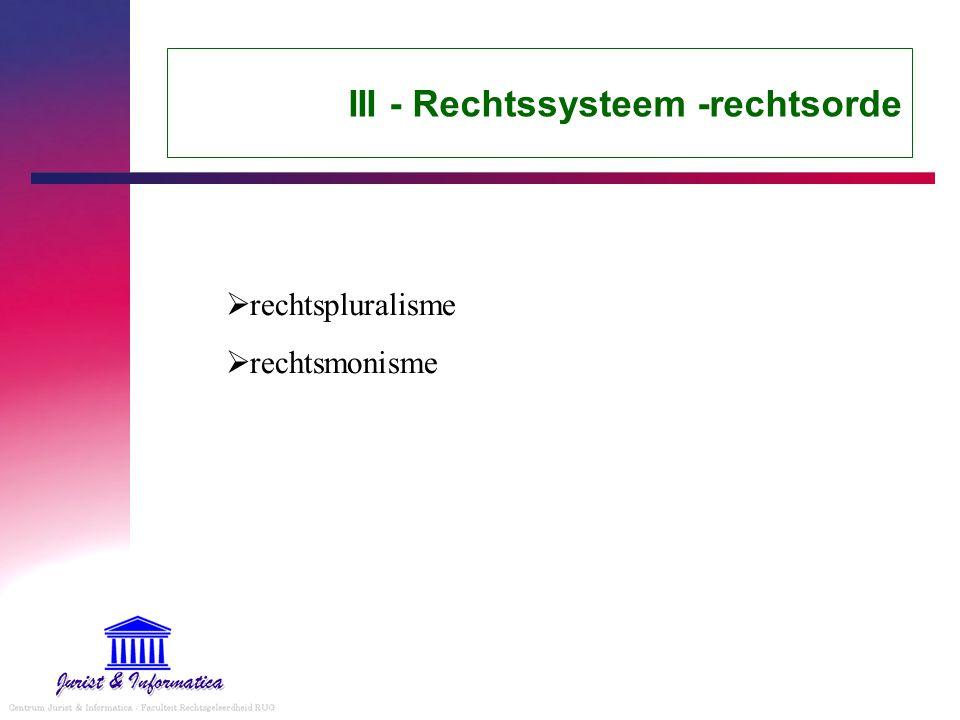 III - Rechtssysteem -rechtsorde  rechtspluralisme  rechtsmonisme
