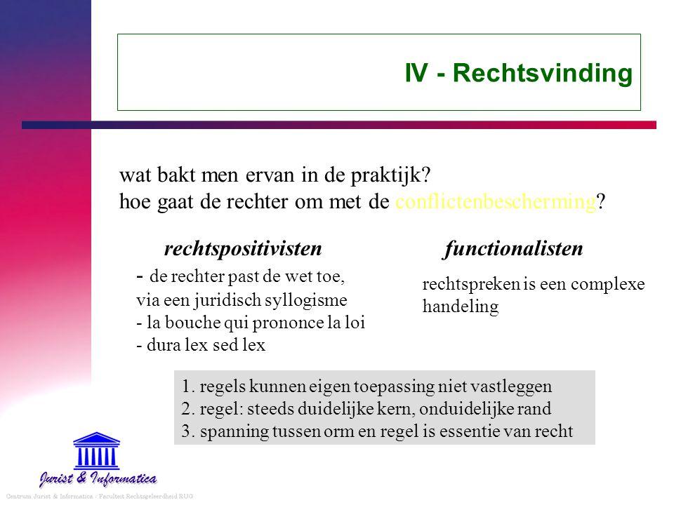 IV - Rechtsvinding wat bakt men ervan in de praktijk.