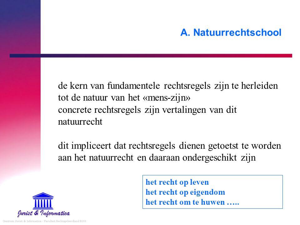 A. Natuurrechtschool de kern van fundamentele rechtsregels zijn te herleiden tot de natuur van het «mens-zijn» concrete rechtsregels zijn vertalingen
