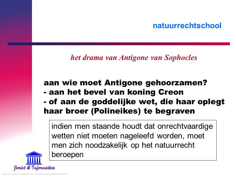 natuurrechtschool het drama van Antigone van Sophocles aan wie moet Antigone gehoorzamen.