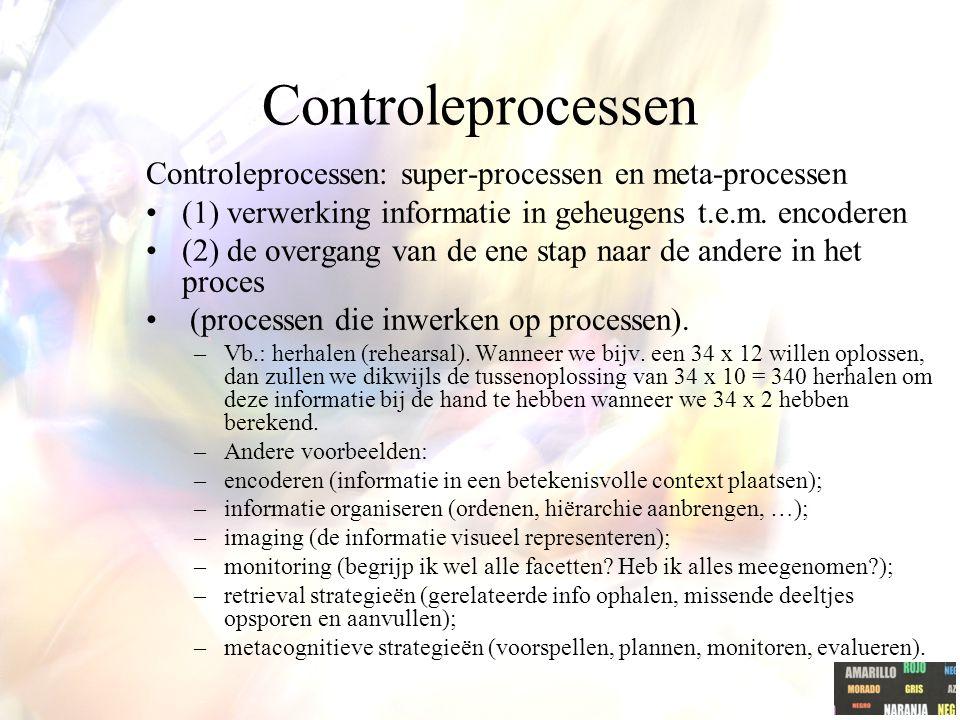 Controleprocessen Controleprocessen: super-processen en meta-processen (1) verwerking informatie in geheugens t.e.m. encoderen (2) de overgang van de