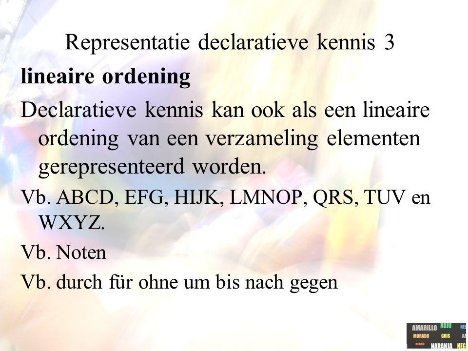 Representatie declaratieve kennis 3 lineaire ordening Declaratieve kennis kan ook als een lineaire ordening van een verzameling elementen gerepresenteerd worden.