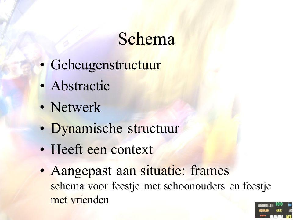Schema Geheugenstructuur Abstractie Netwerk Dynamische structuur Heeft een context Aangepast aan situatie: frames schema voor feestje met schoonouders en feestje met vrienden