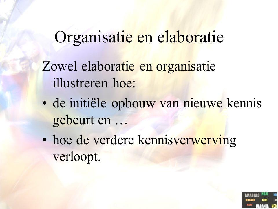 Organisatie en elaboratie Zowel elaboratie en organisatie illustreren hoe: de initiële opbouw van nieuwe kennis gebeurt en … hoe de verdere kennisverwerving verloopt.