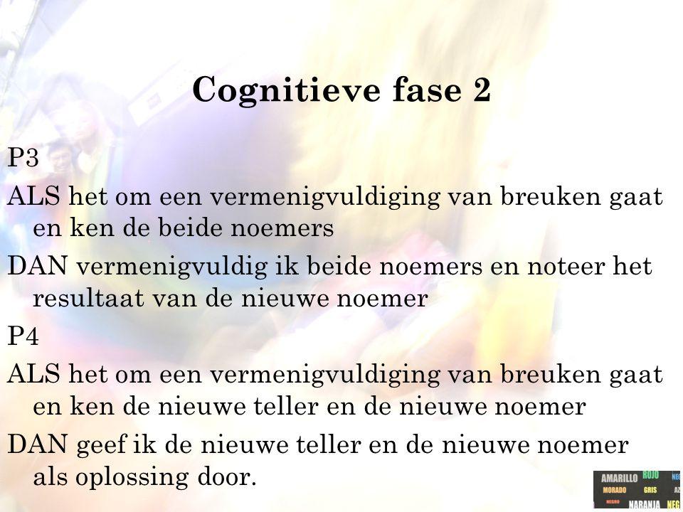 Cognitieve fase 2 P3 ALS het om een vermenigvuldiging van breuken gaat en ken de beide noemers DAN vermenigvuldig ik beide noemers en noteer het resultaat van de nieuwe noemer P4 ALS het om een vermenigvuldiging van breuken gaat en ken de nieuwe teller en de nieuwe noemer DAN geef ik de nieuwe teller en de nieuwe noemer als oplossing door.