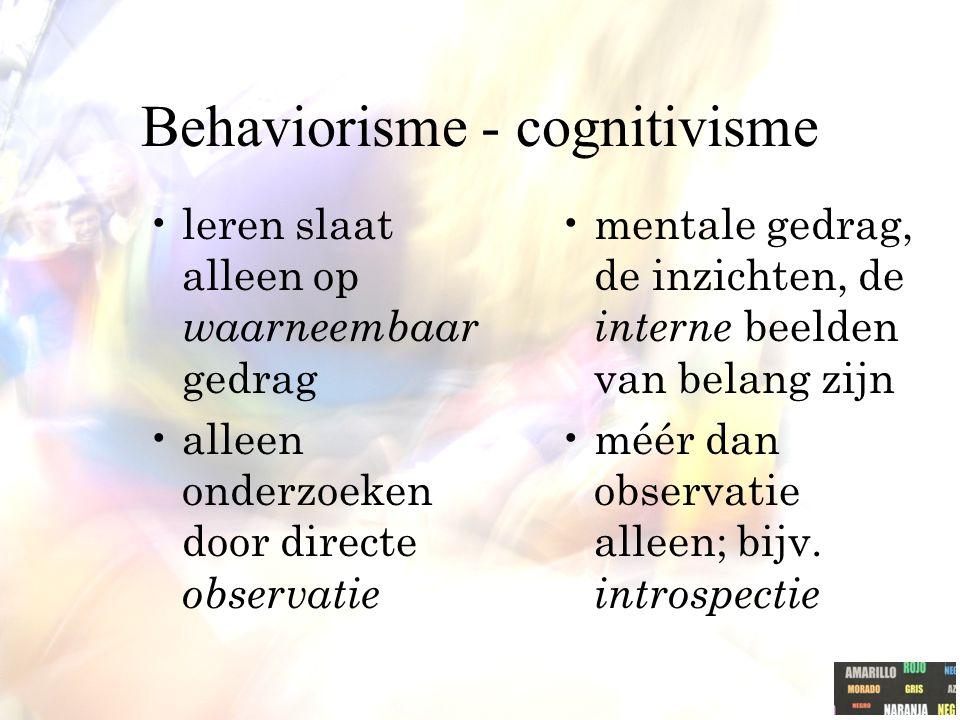 Behaviorisme - cognitivisme leren slaat alleen op waarneembaar gedrag alleen onderzoeken door directe observatie mentale gedrag, de inzichten, de interne beelden van belang zijn méér dan observatie alleen; bijv.