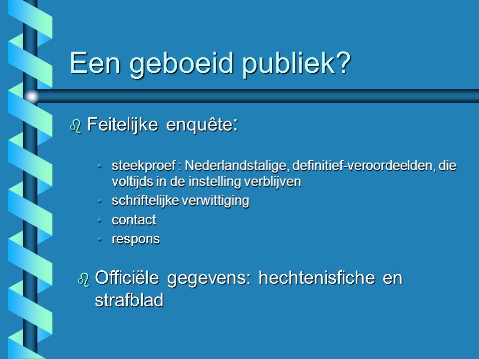 Een geboeid publiek? b Feitelijke enquête : steekproef : Nederlandstalige, definitief-veroordeelden, die voltijds in de instelling verblijvensteekproe